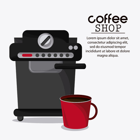 machine shop: Coffee mug cup machine shop beverage icon. drink and break time design, vector illustration