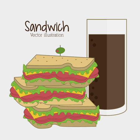 toasted sandwich: sandwich soda drink lunch snack icon. food and menu design. Colorfull and flat illustration