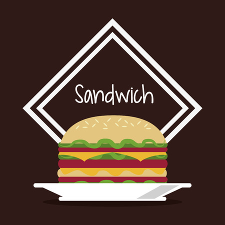 toasted sandwich: sandwich frame bread lunch snack icon. food and menu design. Colorfull and flat illustration