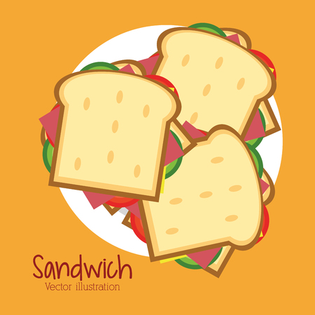 toasted sandwich: sandwich plate bread lunch snack icon. food and menu design. Colorfull and flat illustration