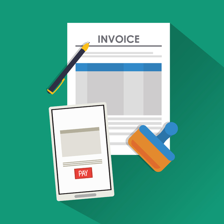item icon: smartphone document payment financial item icon. Invoice design, vector illustration