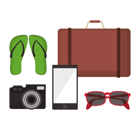 sandals: suitcase sandals camera glasses smartphone vacation summer travel tourism icon, vector illustration