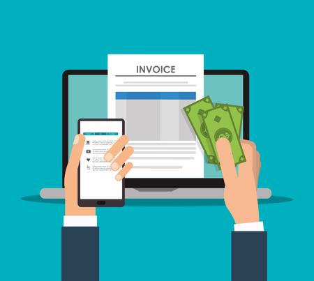 Smartphone Laptop Dokument Zahlung finanziellen Postens Symbol. Rechnung Design, Vektor-Illustration