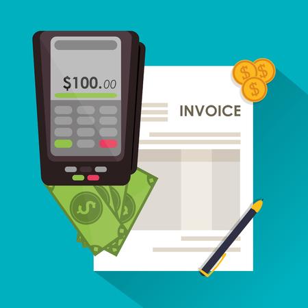 registros contables: dat�fono cuentas pluma monedas documento de pago icono de elemento financiero. dise�o de factura, ilustraci�n vectorial Vectores