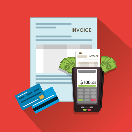accounts payable: dataphone credit card document payment financial item icon. Invoice design, vector illustration Illustration