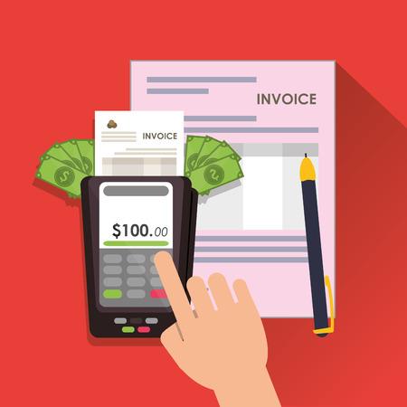 accounts payable: dataphone bills document payment financial item icon. Invoice design, vector illustration Illustration