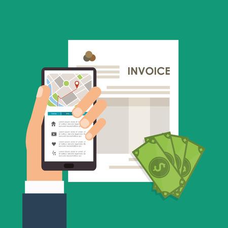 item icon: smartphone bills document payment financial item icon. Invoice design, vector illustration