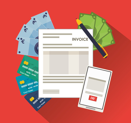 accounts payable: smartphone bills document payment financial item icon. Invoice design, vector illustration