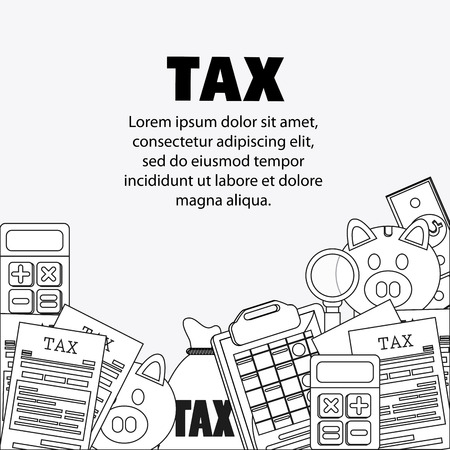 account form: document calculator bag piggy lupe icon. Tax design. Silhouette and flat illustration