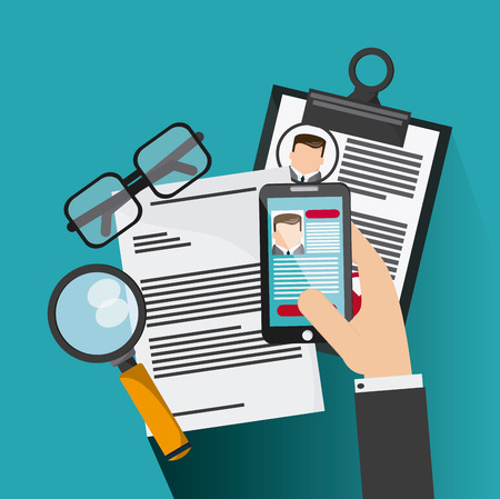 lupe: smartphone glasses  lupe businessman cv document icon. Company rosource design. colorful and flat illustration Illustration