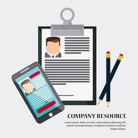 financial managers: businessman smartphone pencil cv document icon. Company rosource design. colorful and flat illustration