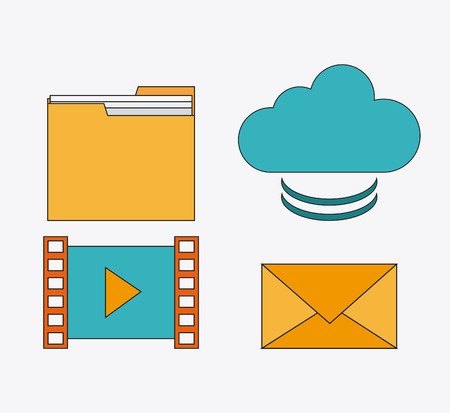 communications: file movie envelope cloud connect communications social network icon. colorful illustration