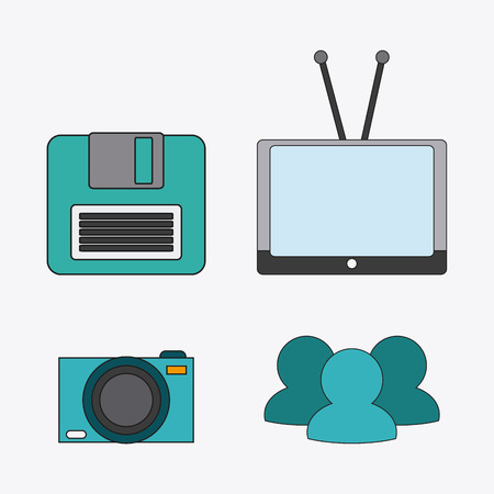 diskette: tv camera diskette connect communicaitons social network icon. colorful illustration Illustration
