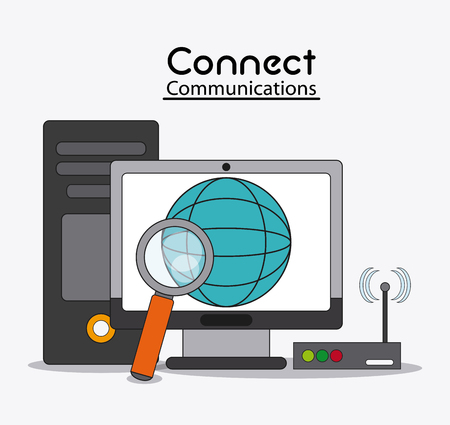 lupe: computer global lupe wifi connect communications social network icon. colorful illustration