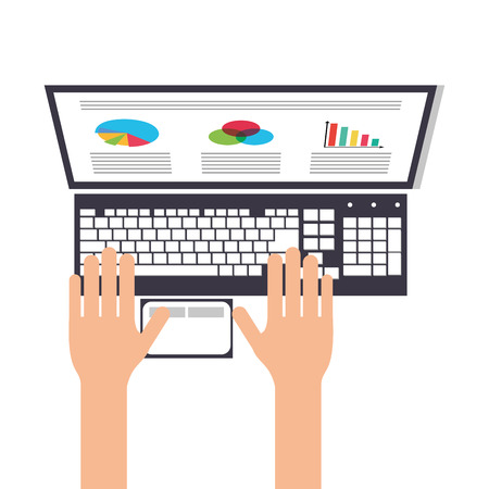 using laptop: flat design person using laptop topview icon vector illustration