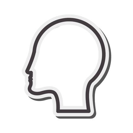 head profile: flat design human head profile icon vector illustration Illustration