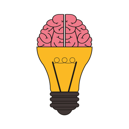 flat design lightbulb and brain icon vector illustration