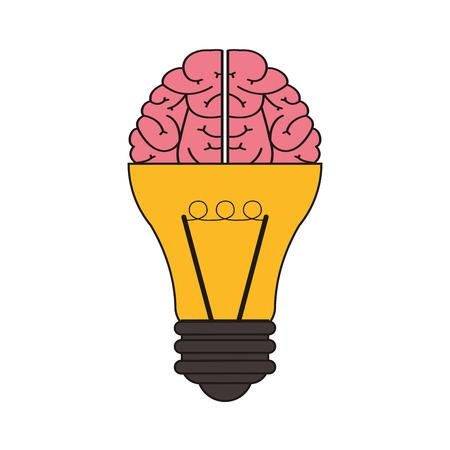 flat design lightbulb and brain icon vector illustration Illustration