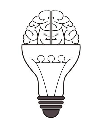 brainy: flat design lightbulb and brain icon vector illustration Illustration