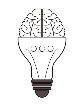 flat design lightbulb and brain icon vector illustration Illustration