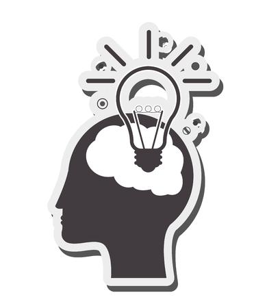 lightbulb idea: flat design human brain lightbulb idea icon vector illustration