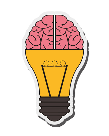 brainy: flat design lightbulb and brain icon vector illustration Illustration