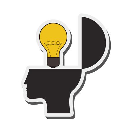 lightbulb idea: flat design human head and lightbulb idea icon vector illustration