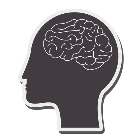 mental object: flat design human head and brain icon vector illustration