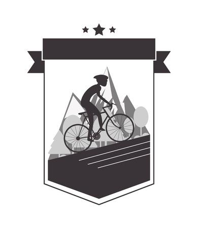 mountain silhouette: flat design person riding bike with helmet emblem icon vector illustration Illustration