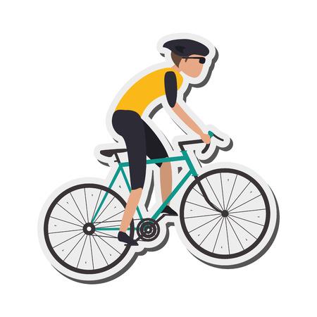 cross street: flat design person riding bike with helmet icon vector illustration