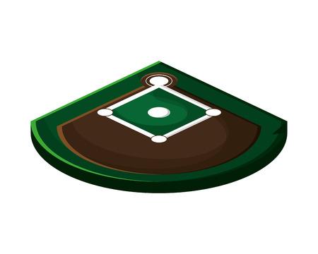 infield: flat design baseball field icon vector illustration