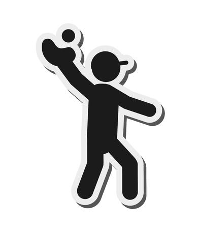 getting ready: flat design baseball pictogram icon vector illustration Illustration