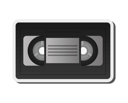 videocassette: flat design single videocassette icon vector illustration
