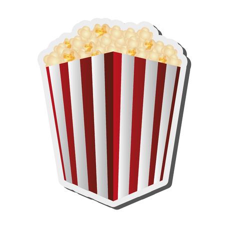 flat design striped popcorn bag icon vector illustration