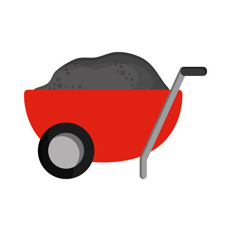 flat design filled wheelbarrow icon vector illustration