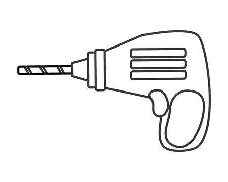 drilled: flat design hand drill icon vector illustration