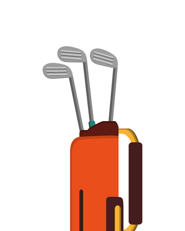 flat design golf bag with clubs icon vector illustration Illustration