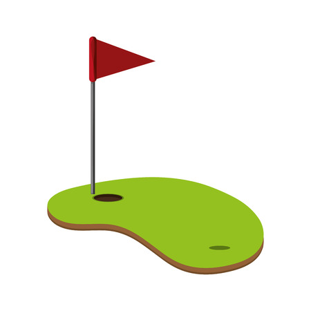 flat design golf hole icon vector illustration Vectores