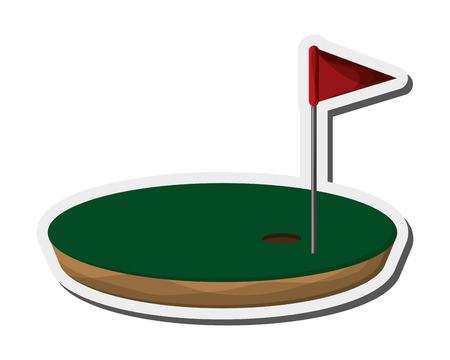 flat design golf hole icon vector illustration Illustration
