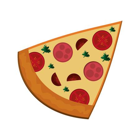 flat design pizza slice icon vector illustration