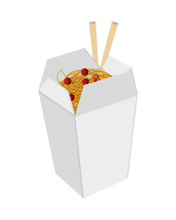 chinese take away container: flat design Chinese takeout food icon vector illustration