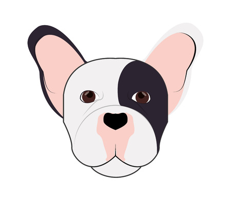 brawny: flat design french bulldog icon vector illustration