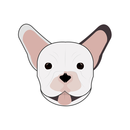 french bulldog: flat design french bulldog icon vector illustration