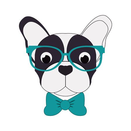 flat design hipster french bulldog icon vector illustration