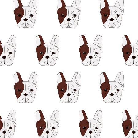 brawny: flat design french bulldog pattern icon vector illustration