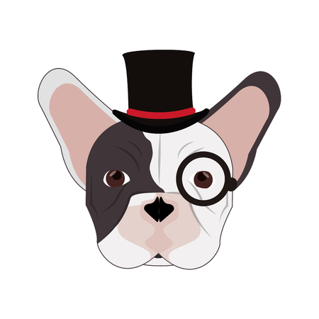 brawny: flat design hipster french bulldog icon vector illustration