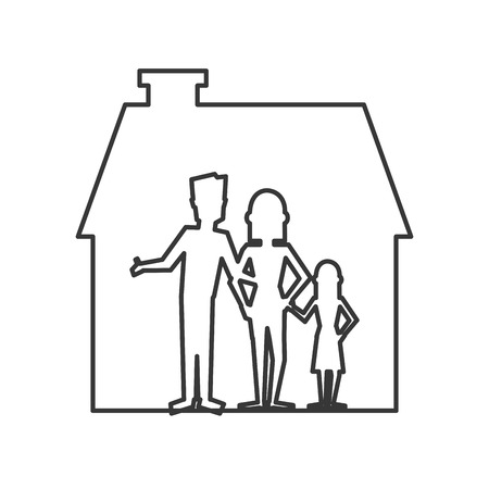 habitation: flat design family and house pictogram icon vector illustration