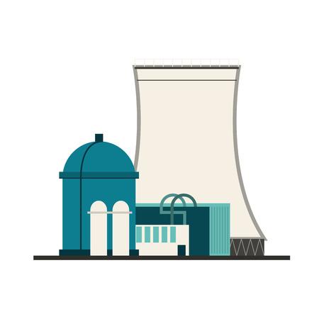 vector nuclear: flat design nuclear plant icon vector illustration