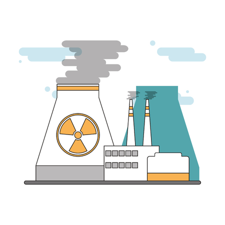 nuclear plant: flat design nuclear plant icon vector illustration