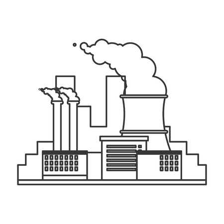 cooling tower: flat design nuclear plant icon vector illustration
